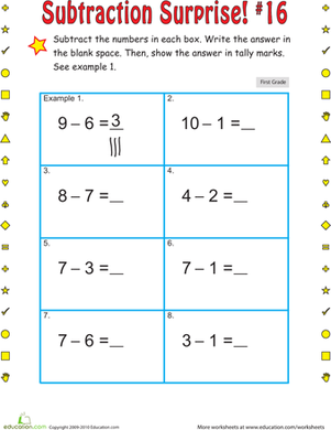 First Grade Math Worksheets: Subtraction Surprise #16