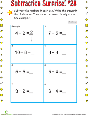 First Grade Math Worksheets: Subtraction Suprise #28