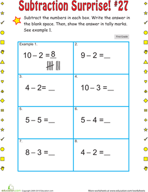First Grade Math Worksheets: Subtraction Suprise #27