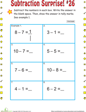 First Grade Math Worksheets: Subtraction Surprise #26