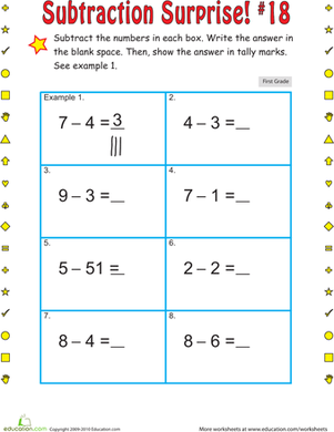 First Grade Math Worksheets: Subtraction Surprise #18