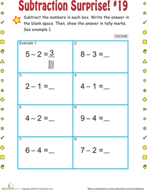 First Grade Math Worksheets: Subtraction Surprise #19