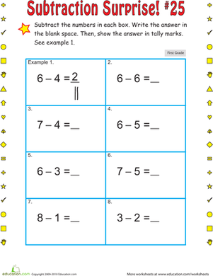 First Grade Math Worksheets: Subtraction Surprise #25