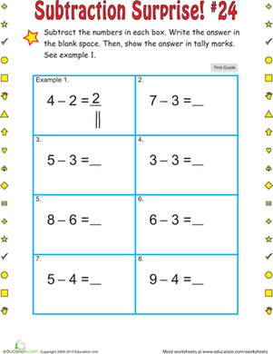 First Grade Math Worksheets: Subtraction Surprise #24