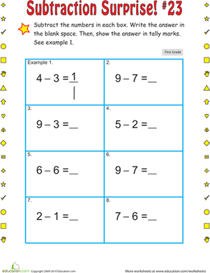 First Grade Math Worksheets: Subtraction Surprise #23