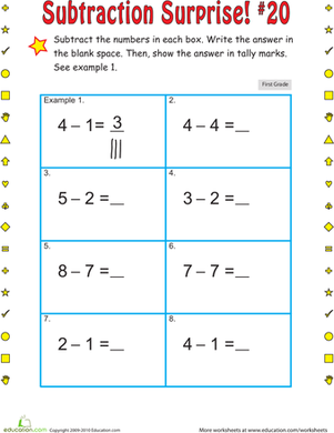 First Grade Math Worksheets: Subtraction Surprise #20