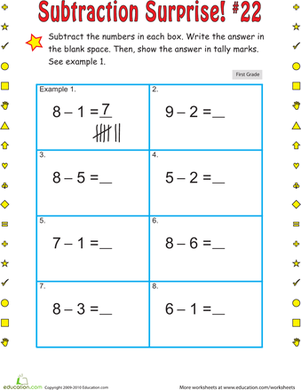 First Grade Math Worksheets: Subtraction Surprise #22