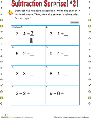 First Grade Math Worksheets: Subtraction Surprise #21