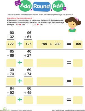 Second Grade Math Worksheets: Round to the Nearest Hundred