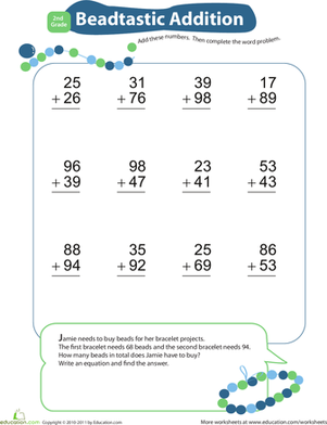 Second Grade Math Worksheets: Add & Carry: Beadtastic Addition