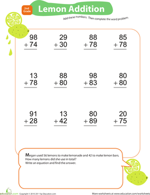 Second Grade Math Worksheets: Add & Carry: Lemon Addition