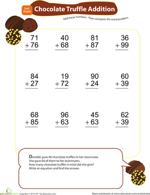 Second Grade Math Worksheets: Add & Carry: Chocolate Truffle Addition
