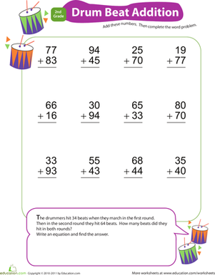 Second Grade Math Worksheets: Add & Carry: Drum Beat Addition