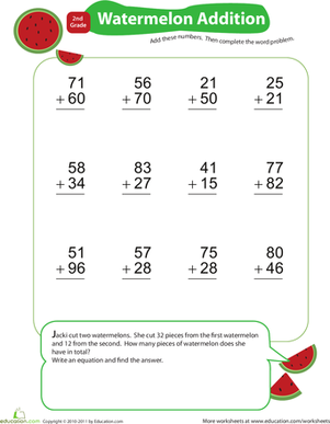 Second Grade Math Worksheets: Add and Carry: Watermelon Addition