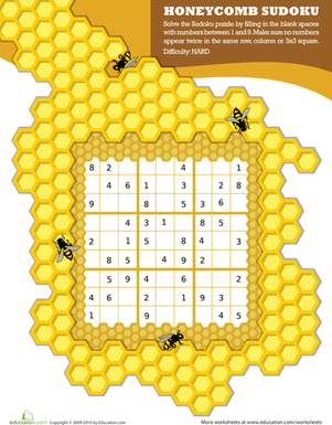 Fourth Grade Offline games Worksheets: Honeycomb Sudoku