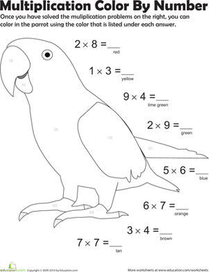 Third Grade Math Worksheets: Multiplication Color by Number: Parrot 1