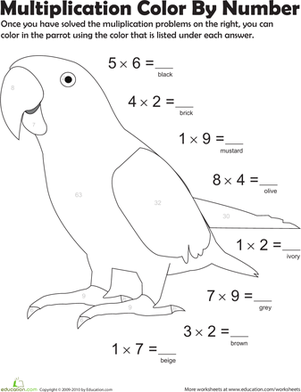 Multiplication Color by Number: Parrot 2