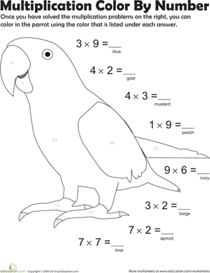 Multiplication Color by Number: Parrot 3