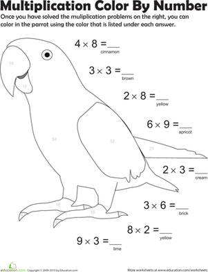 Third Grade Math Worksheets: Multiplication Color by Number: Parrot 5