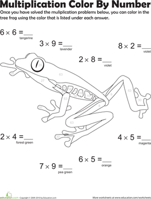 Third Grade Math Worksheets: Multiplication Color by Number: Tree Frog 2
