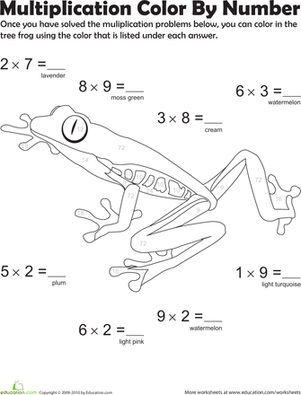 Third Grade Math Worksheets: Multiplication Color by Number: Tree Frog 3