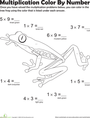Third Grade Math Worksheets: Multiplication Color by Number: Tree Frog 4