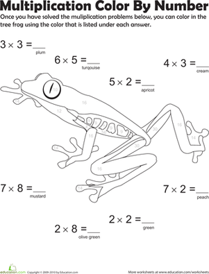 Third Grade Math Worksheets: Multiplication Color by Number: Tree Frog 5