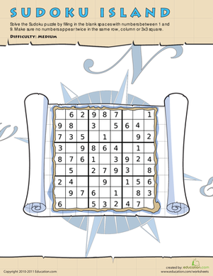 Fourth Grade Math Worksheets: Sudoku: Treasure Hunt