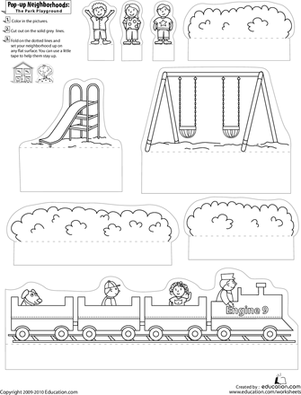 First Grade Arts & crafts Worksheets: Pop-Up Neighborhoods: The Park Playground
