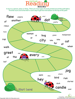 Second Grade Reading & Writing Worksheets: Reading Roundup: Find the Nouns #1