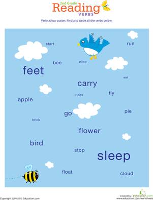 Second Grade Reading & Writing Worksheets: Reading Roundup: Find the Verbs #1