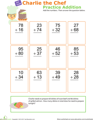 Second Grade Math Worksheets: Practice Addition with Charlie the Chef!