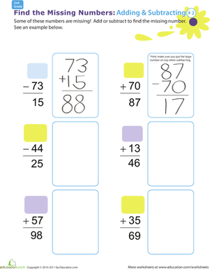 Second Grade Math Worksheets: Find the Missing Numbers: Reverse Addition & Subtraction #2