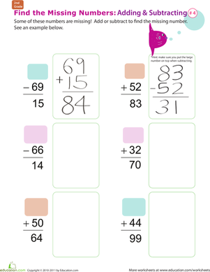 Second Grade Math Worksheets: Find the Missing Numbers: Reverse Addition & Subtraction #4