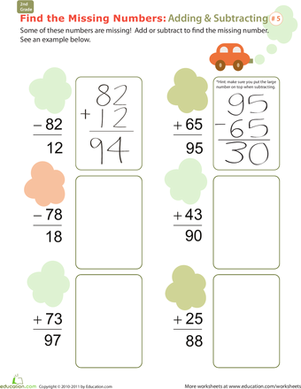 Find the Missing Numbers: Reverse Addition & Subtraction #5