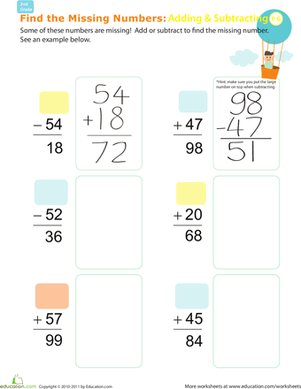 Second Grade Math Worksheets: Find the Missing Numbers: Reverse Addition & Subtraction #6