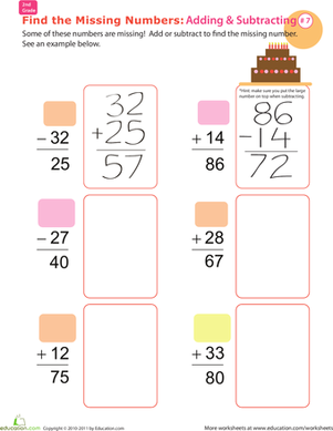 Second Grade Math Worksheets: Find the Missing Numbers: Reverse Addition & Subtraction #7