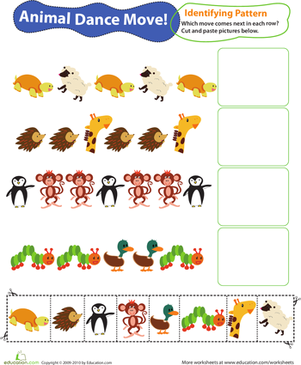 First Grade Math Worksheets: Identifying Patterns: Animal Dance Moves