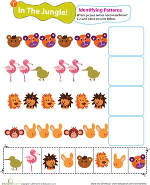 First Grade Math Worksheets: Identifying Patterns: In the Jungle