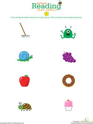 Second Grade Reading & Writing Worksheets: Reading Readiness: Long A Vowels
