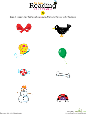 Second Grade Reading & Writing Worksheets: Long Vowel O