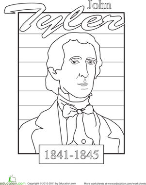Kindergarten Holidays & Seasons Worksheets: Color a U.S. President: John Tyler