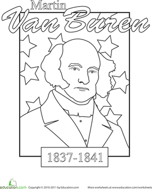 kindergarten holidays seasons worksheets color a us president martin van buren