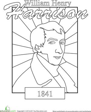 Kindergarten Holidays & Seasons Worksheets: Color a U.S. President: William Henry Harrison