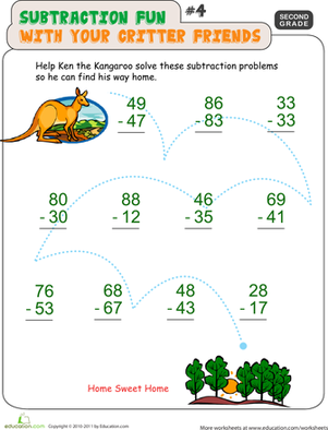 Second Grade Math Worksheets: Critter Subtraction Fun #4