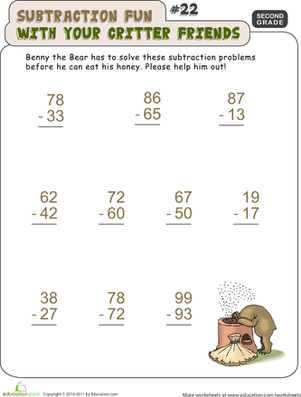 Second Grade Math Worksheets: Critter Subtraction Fun #22