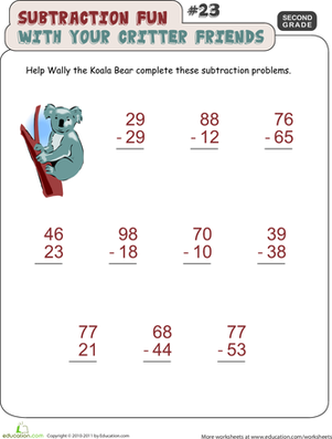 Second Grade Math Worksheets: Critter Subtraction Fun #23