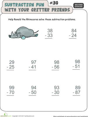 Second Grade Math Worksheets: Critter Subtraction Fun #30