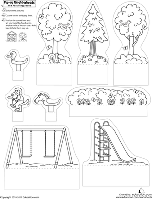 First Grade Arts & Crafts Worksheets: Pop-Up Neighborhoods: The Park Playground 2