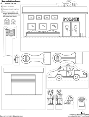 First Grade Arts & crafts Worksheets: Pop-Up Neighborhoods: Police Station